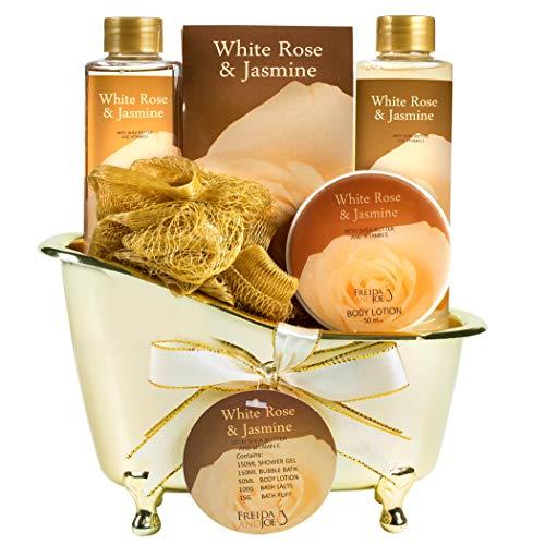 White Rose Jasmine Spa Set For Women Displayed in Elegant Gold Tub Includes Shower Gel, Bubble Bath, Body Lotion, Jasmine Bath Salt and Pouf, Award Winning Bath and Body Set