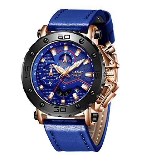 LIGE Uhr Herren Sport Chronograph Kalender Analog Quarzuhr für Mann Wasserdicht Large Dial Military Fashion Blau Leder Armbanduhr Männer