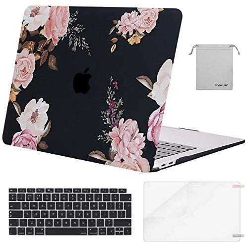 MOSISO MacBook Air 13 inch Case 2020 2019 2018 Release A2179 A1932, Plastic Hard Shell &Keyboard Cover &Screen Protector &Storage Bag Compatible with MacBook Air 13 inch Retina, Pink Peony