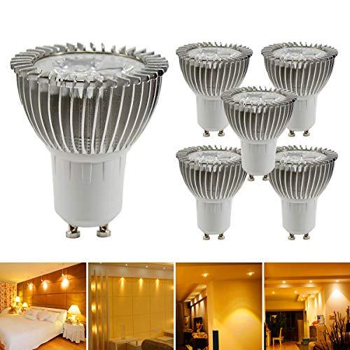 GreenSun LED Lighting 5er GU10 LED Lampe, 3W Reflektorlampe 240lm, Ersetzt 20W Halogenlampe, 220V LED Leuchtmittel Spot Lampe LED Birne Stahler, 120° Abstrahwinkel, Gelb-Licht