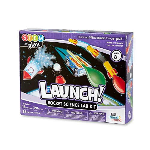 hand2mind LAUNCH! Rocket STEM Kits For Kids Ages 8-12, 18 Science Experiments and Fact-Filled Guide, Make Your Own Rocket, Solar System, And Rocket Races, Homeschool Science Kits