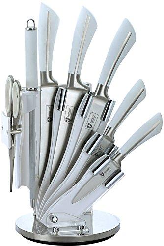 UNIVERS-DECOR Ensemble Couteaux 7 pièces + Support Pliant et pivotant à 360° Blanc Royalty Line