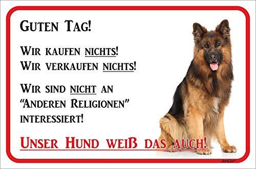 AdriLeo Schild - Vorsicht Langhaarschäferhund - Wir kaufen Nichts - (20x30cm) / Achtung Hund Wachhund