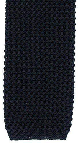 Une cravate étroite en soie tricotée bleue marine Michelsons