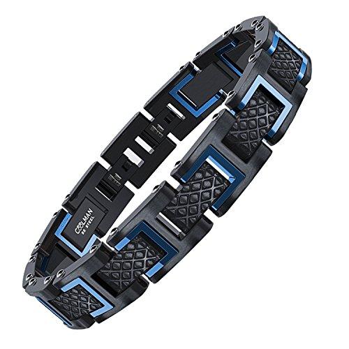 COOLMAN - Bracciale da uomo, Braccialetto in acciaio inossidabile 316L, Dimensione regolabile 20-22 cm, con GRATUITO Gift Box, Serie RacingLegend (blu + nero)