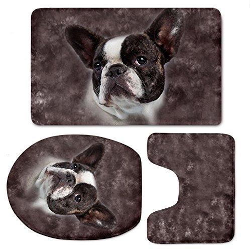 RedBeans Französische Bulldogge Rutschfest 3-Teiliges Badematten-Set Badezimmer Teppich Teppich Contour Mats Ständer Deckel, Weiche Flanell