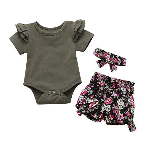baskopa Baby Girl Clothes 0 3 Months Dark Green Short Bodysuit + Floral Short Pants Matching Headband 3PCS