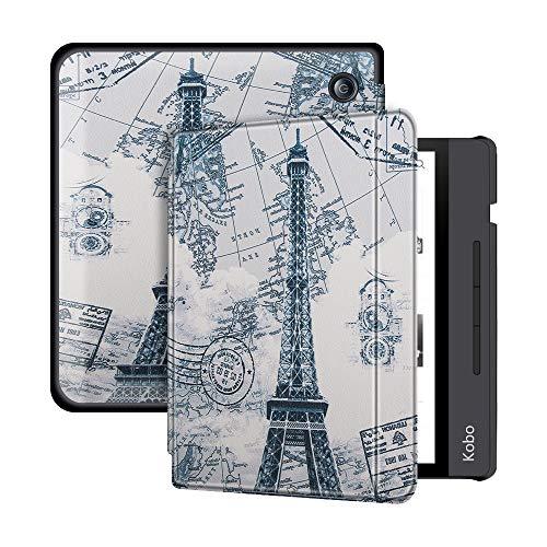 Lunso – sleepcover flip hoes – Geschikt voor Kobo Libra H20 (7 inch) – Eiffeltoren