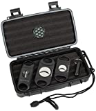 Mantello Travel Cigar Humidor Case - Portable Container with 2 Ring, V-Cut & Punch Cutters - Waterproof, Airtight & Durable - Holds 5 Cigars, Up to 52 Ring Gauge - 5-Piece Accessory Gift Set for Men