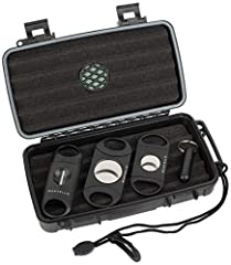Mantello cigar travel case fits up to 5 cigars, 52 ring gauge up to 7 inches long Cigar travel kit includes 80 ring gauge cutter, 58 ring gauge cutter, v-cut cutter, and cigar punch Built-in humidifier, airtight seal, waterproof up to 100 feet deep, ...