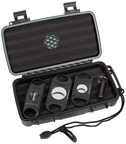 Mantello Portable Travel Cigar Humidor Case - Gift Set for Men - Fits 5 Cigars with 2 Ring Cigar Cutter, 1 V-Cut Cutter and 1 Cigar Punch - Portable, Airtight Seal, Crush-Proof - 8.80'x 5.18' Black