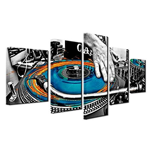 Canvas Wall Art Pictures Home Decor 5 Pieces Hand Plate DJ Music Console Instrument Fabric Paintings Night Club Poster / 40x60 40x80 40x100cm no frame