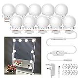 Luohaoshi - Kit de luces LED de espejo de vanidad, 10 bombillas LED regulables de 8,5 W, luces de espejo de maquillaje IP44,...