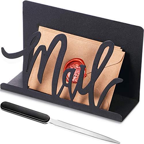 Mail Halter Schwarz Metall Brief Sortierer Tischplatte Mail Ausschnitt Veranstalter Mail Brief Dokumenten Ständer mit Brieföffner für Desktop Haus Büro Schule