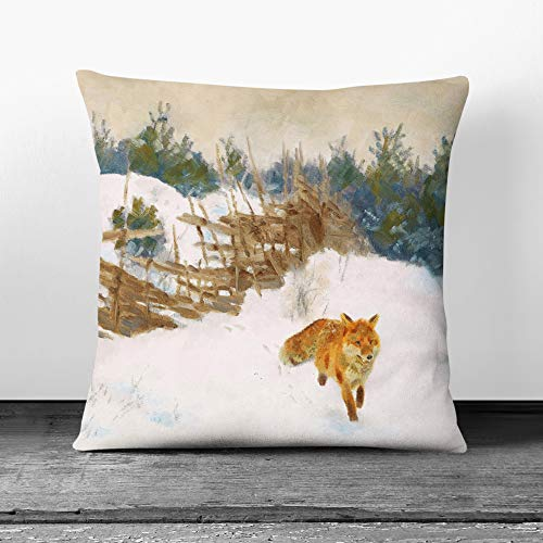 Big Box Art Cushion and Cover - Bruno Liljefors Fox in the Snow 2 - Single Square Throw Pillow - Soft Faux Suede Material - White Rear - 40x40 cm
