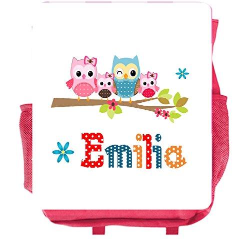 wolga-kreativ Kleiner Rucksack Kindergartentasche Mädchen Jungen Eulenfamilie Kinderrucksack Kindergartenrucksack Jungs Kinder mit Namen Tagesrucksack Kindergarten Kindertasche