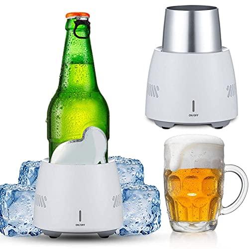 WHkeji Smart Beverage Cooler Cup Taza de refrigeración rápida Super Speed Icer Car Desktop Electronic Refrigeration Cup Congelador Copa US UK EU Standard Plug (Blanco 350 ml)