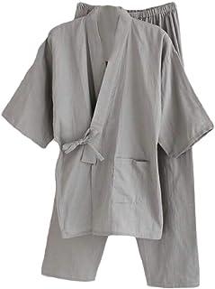 gawaga メンズパジャマの快適な着物トップ&パンツセットpjのナイトウェア
