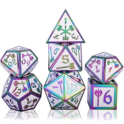 7 Dadi di Metallo Poliedrico Dadi Set DND Gioco di Ruolo Dadi Set?con per Rpg Dungeons e Dragons D&D Insegnamento della Matematica?Giochi da Tavolo e Giochi di Ruolo (Colorful White)