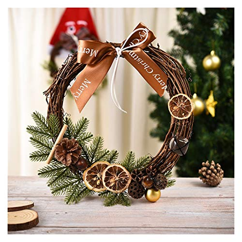 WODEJIA 20cm 38cm Christmas Wreath Handmade Pendant Garland Shopping Mall Home Decoration Christmas Tree Door Decoration Wreath Door Garland (Color : Lemon)
