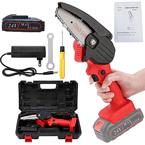 Cordless Mini Chainsaw, FENOMO Portable 4 Inch One-Handheld Electric Chainsaw | Rechargeable 24V Battery Powered Chain Saw Kit for Tree Pruning Trimming and Wood Cutting(Red)