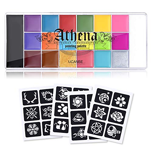 UCANBE Athena Painting Oil Palette Makeup Set, 20 Colors Face Body Paint Halloween Costume Party SFX with 4 pcs Stencil Temporary Tattoos Art Template kit for Adults Man Women Kids Teenager