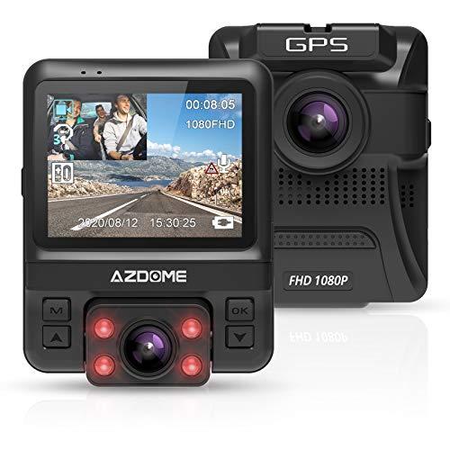 ドライブレコーダー 前後カメラ 車内+車外カメラ搭載 GPS機能搭載4赤外線暗視ライト1080PフルHD 170度広角 小型2.4インチ Gセンサー搭載/WDR/夜間対応/常時録画/駐車監視/日本語メニュー 日本語説明書