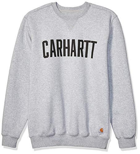 Carhartt Herren Block Logo Crewneck Sweat Sweatshirt, Grau meliert, Groß