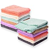 Kyapoo Baby Washcloths 12 Pack 12x12 Inches Microfiber Coral Fleece Extra Absorbent and Soft for Newborns, Infants and Toddlers