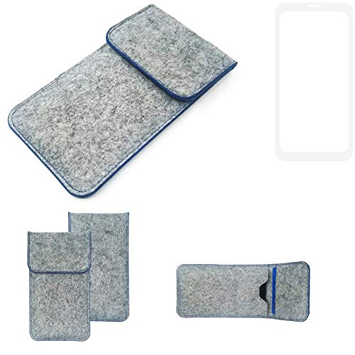 K-S-Trade Handy Schutz Hülle Für Nubia Z18 Schutzhülle Handyhülle Filztasche Pouch Tasche Hülle Sleeve Filzhülle Hellgrau, Blauer Rand
