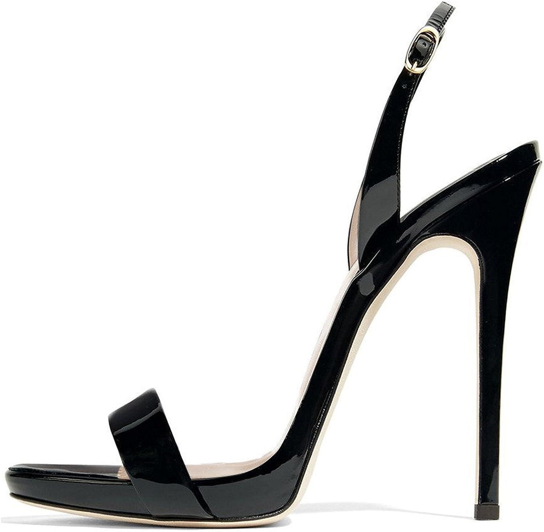 FSJ Women Sexy High Heel Stiletto Sandals Ankle Strap Slingback Open Toe Evening shoes Size 7.5 Black