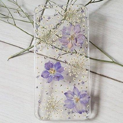 Funda para Samsung Galaxy S6 Edge, diseño floral S6 Edge, funda para teléfono Samsung S6 Edge, diseño floral prensado Galaxy S6 Edge, carcasa rígida transparente con pétalos de flor para mujer