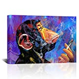 LoveHouse Colorful Gorilla Monkey Smoking Canvas Print Wall Art Cool Animal Painting Picture Funny Chimp Artwork for Living Room Bedroom Office Contemporary Home Decor Ready to Hang 24x36Inch