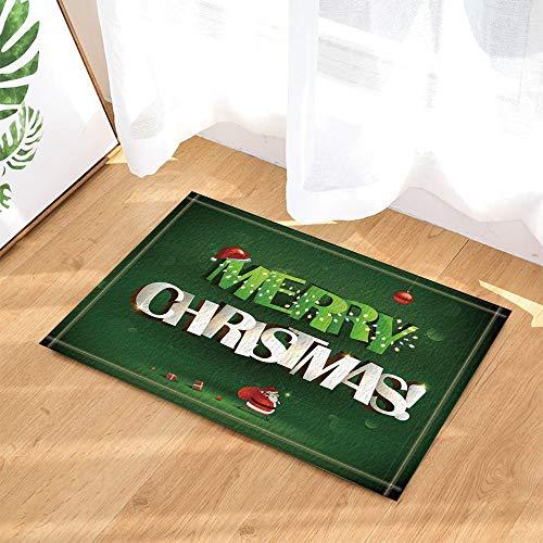 ZZZdz Carta de Feliz Navidad en 3D con Papá Noel en alfombras de baño Verdes, Alfombrillas Antideslizantes en el...
