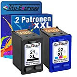 Tito-Express PlatinumSerie Set 2X Druckerpatrone für HP-21 XL & HP-22 XL Deskjet D1560 F350 F370 F375 F380 F385 F90 F394 F4100 F4135