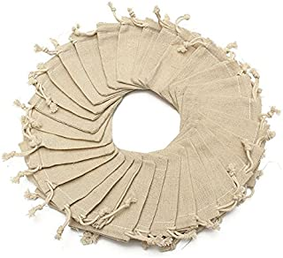30Pcs Burlap Favor Bags with Drawstring Fabric Jewelry Pouch Sacks 3.9'' x 3.1''