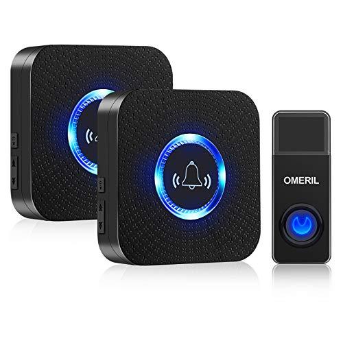 Wireless Doorbell, OMERIL 1000ft Range Door Bells, IP55 Waterproof Doorbell...