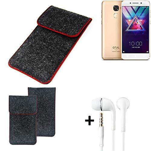 K-S-Trade Handy Schutz Hülle Für Coolpad Cool S1 Schutzhülle Handyhülle Filztasche Pouch Tasche Hülle Sleeve Filzhülle Dunkelgrau Roter Rand + Kopfhörer