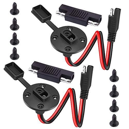 GTIWUNG 2 Stücke SAE Power Kfz-Verlängerungskabel Solar Battery Plug Wire SAE-Kabel, SAE Stecker Verlängerungskabel (12AWG 0.3M/1Ft)