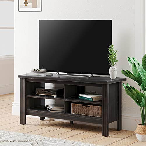 Farmhouse Wood TV Stand for 55 inch Flat Screen Living Room Storage Sheleves Entertainment Center (Balck, 43inch)
