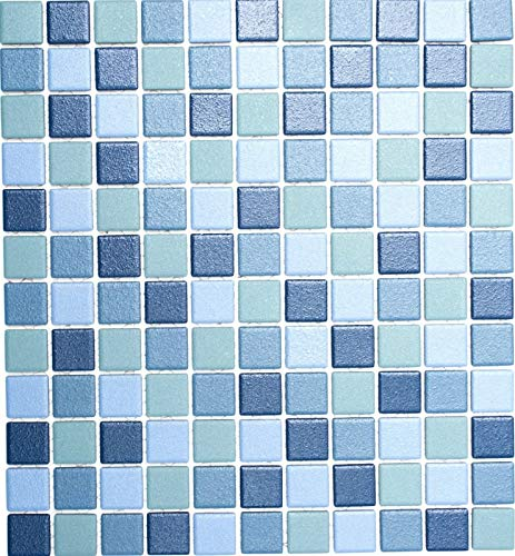Azul/turquesa – Azulejos de mosaico para piscina, antideslizante, taza de ducha, suelo azulejos MOS18-0404-R10