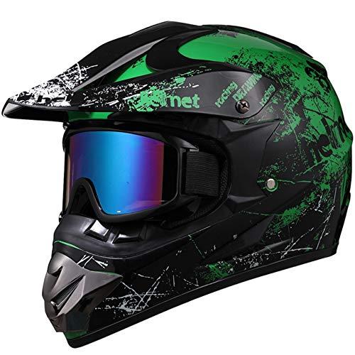 Casco de Motocross para Hombre, Casco de Moto de Cara Completa Ligero antichoque para Adultos, Gorras de Seguridad para Carreras de Motos de montaña al Aire Libre