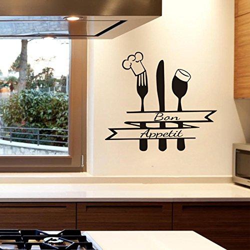 yaonuli Muurstickers, Frans keuken badge, vork, lepel, vinyl, zelfklevend, decoratie voor huis, restaurant, waterdicht