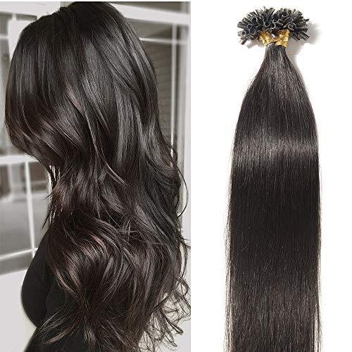 Extension Cheveux Naturel Kératine 1g 50 Mèches 50g - Rajout Vrai Cheveux Humain Lisse (#1B Noir naturel, 55 cm)