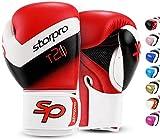 Starpro T20 Guantes de Boxeo | Cuero de PU | Negro Blanco Rosa y Azul | para Entrenamiento y Sparring en Muay Thai Kickboxing Fitness y boxercise Hombres y Mujeres | 8oz 10oz 12oz 14oz 16oz