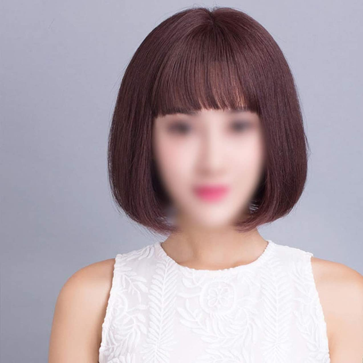 重要漏れ着服HOHYLLYA 女性の短い髪本物の髪ボブかつらかつらかつらファッションかつら (色 : Hand-woven top heart - dark brown)