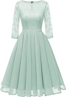 DEATU Womens Dresses Ladies Vintage Princess Floral Lace Cocktail O-Neck Party A-line Elegant Swing Dress
