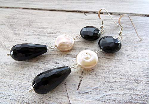 Pendientes de plata 925, pendientes de perlas barrocas rosa y agata negra, pendientes colgantes largos, joyas de piedras semi preciosas, joyas para mujer