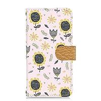 すまほケース 手帳型 カードタイプ Galaxy A30 SCV43 用 ひまわり・ピンク 北欧柄 花柄 向日葵 SAMSUNG サムスン ギャラクシー エーサーティ au すまほカバー カード収納 スタンド式 けーたいケース sunflower 00z_208@03c