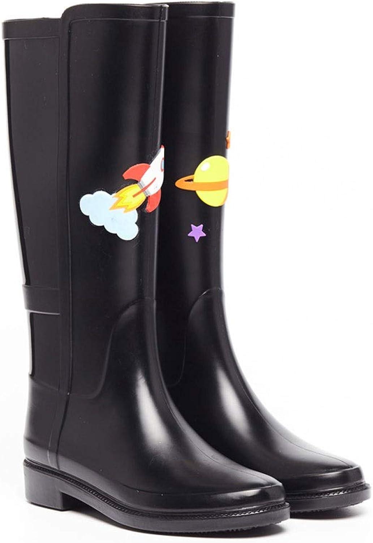 Unbekannt Unbekannt Unbekannt FRF Regenstiefel- Damenmode High-Top schwarz Wasserdichte Regenstiefel, Damen Rutschfeste Gummi-Regenstiefel (Farbe   schwarz A, größe   36 Yards)  b42eff